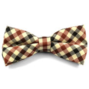 Cream Chequered Bow Tie