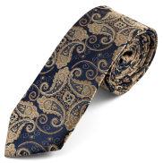 Cravată albastră cu model Paisley