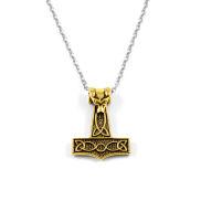 Collana in acciaio con Martello di Thor dorato