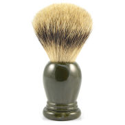 Brocha de afeitar de tejón gris y resina verde