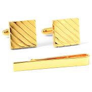Złoty zestaw spinek do mankietów i spinki do krawata