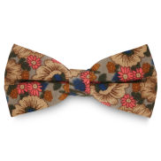 Retro Grey Floral Bow Tie