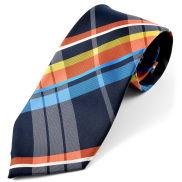 Corbata de seda a cuadros azul