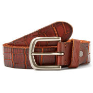 Reddish-Brown Crocodile Pattern Belt