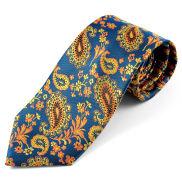 Corbata de seda con estampado de cachemir naranja