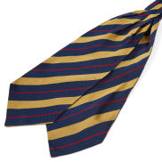 Gold & Red Stripe Navy Silk Cravat