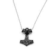 Collier en acier avec croix et marteau de Thor XL