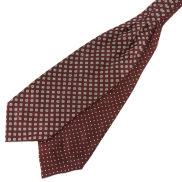 Hedvábná vínová kravatová šála Askot s geometrickým vzorem a puntíky