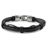 Grijze Kralen Lederen Armband