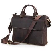 Mörkbrun Vintage Klassisk Läderväska