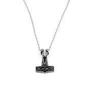 Silver Thor's Hammer Steel Necklace