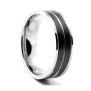 Black Striped Stylish Steel Ring