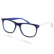 Occhiali da sole con montature blu e bianche e lenti trasparenti