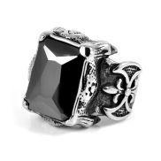 Fleur De Lis Stone Steel Ring