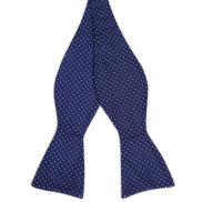 Navy Polka Dot Silk Self Tie Bow Tie
