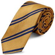 Златиста копринена вратовръзка с двойни тъмносини ивици 6 см