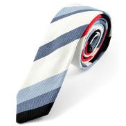 Corbata de lino en azul y blanco