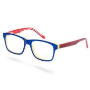 Blau & Rot Gerahmte Brille Mit Transparenten Brillengläsern
