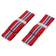 Reggimaniche con cuciture blu, rosso e bianco