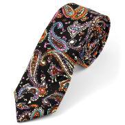 Corbata de algodón retro en negro y naranja