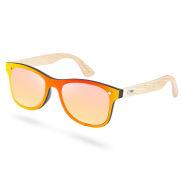 Gafas de sol con montura de bambú en amarillo y rojo