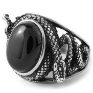 Oceľový prsteň Had s čiernym kameňom