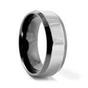 Скосен стоманен пръстен в черно и сребристо