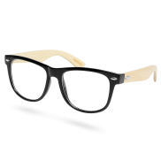 Black Bamboo Wood Clear Glasses