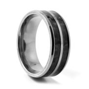 Two Line Carbon Titanium Ring