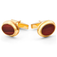 Red Stone In Gold 925s Silver Cufflinks