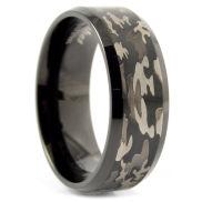 Zwart Stalen Camouflage Ring