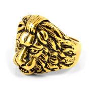 Anello in acciaio dorato con testa di leone