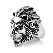 Chevalière XL lion en acier