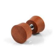 Orecchino a bottone in legno marrone Sawo
