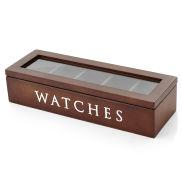 Uhrenbox aus braunem Kiefernholz für bis zu 5 Uhren