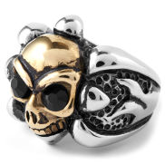 Steel & Gold Colored Skull Ring