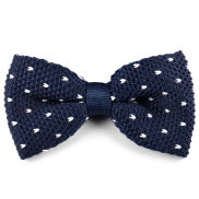 Blue White Dotted Knitted Bow Tie