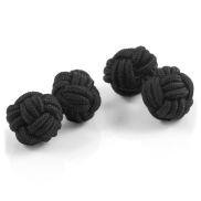 Boutons de manchette noirs nœud de soie