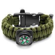 Zielona bransoletka paracord z kompasem