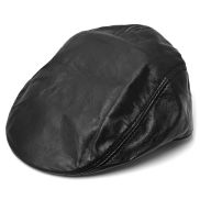 Matt Black Leather Flat Cap