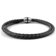 Black Bolo Twisted Leather Bracelet