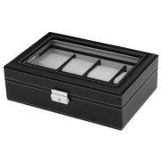 Caja expositora de madera negra para 8 relojes