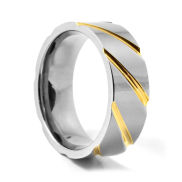 Unique Silver & Gold Titanium Ring