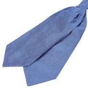 Cravatta ascot in seta blu pastello con fantasia a pois