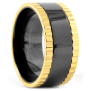 Czarno-złota stalowa obrączka Cirz