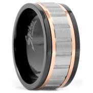 Inel de oțel cu detalii negre și aurii