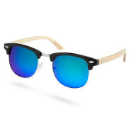 Holz Sonnenbrille Mit Blaugrünen Sonnenbrillengläsern