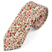Corbata en algodón con flores rojas