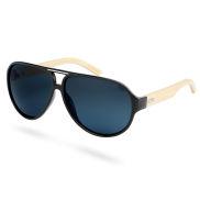 Zwarte & Beige Bamboehouten Zonnebril met donkergetinten Gepolariseerde Glazen