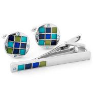Blue Marine Stone Cufflink & Tie Clip Set